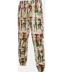 pantaloni diritti casuali del lino del cotone stampato lino di stile etnico degli uomini
