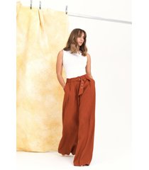 womens on the runway belted wide-leg pants - rust