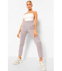 nep suède skinny fit broek met naaddetail, grey