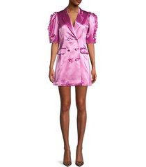 mini cotton & silk-blend blazer dress