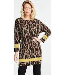 sweter w zwierzęcy print z kontrastującymi pasami