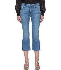 raw edge pixie crop jeans