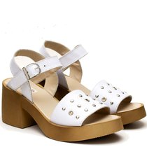 sandalia de cuero blanca valentía calzados gina