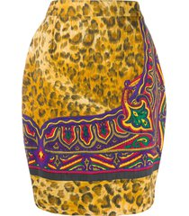 versace pre-owned 1990s animal print slim-fit skirt - neutrals