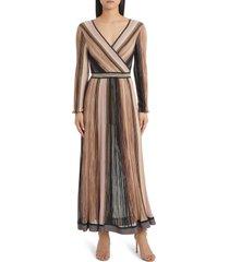 women's missoni multicolor stripe faux wrap dress