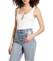 women's lulus xoxo sleeveless bodysuit, size large - white