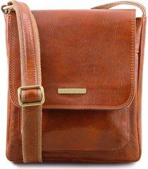 tuscany leather tl141407 jimmy - borsello da uomo in pelle con tasca frontale miele