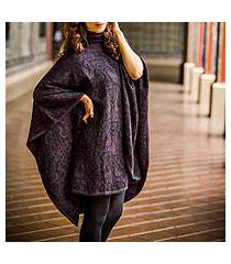 alpaca blend reversible poncho, 'sublime purple' (peru)