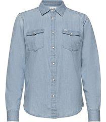 regular western shir overhemd met lange mouwen blauw lee jeans