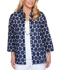 alfred dunner ship shape two-in-one cotton dot-print top