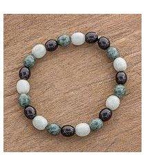 jade beaded stretch bracelet, 'light and shade' (guatemala)