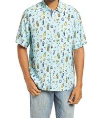 men's big & tall tommy bahama men's mixer short sleeve button-up shirt, size 1xb - blue