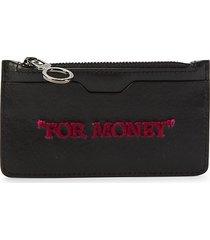 off-white women's leather card holder - black fuchsia
