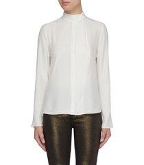 'cravat' button collar silk blouse