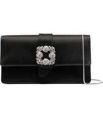 manolo blahnik embellished buckle clutch - black