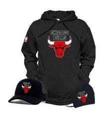 moletom canguru e boné preto time de basquete chicago bulls com máscara