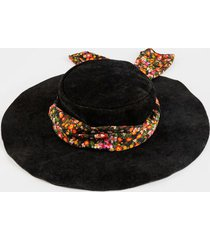 luna floppy hat with floral scarf - black