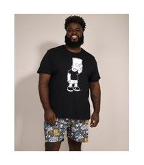 pijama masculino plus size bart simpson manga curta preto