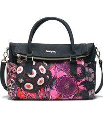 bolsa tiracolo desigual mandala preta/rosa