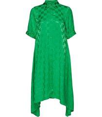 check viscose dancella jurk knielengte groen mads nørgaard