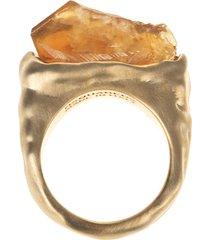 woman ring with citrine quartz