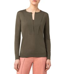 akris punto trompe l'oeil wool sweater, size 4 in moss at nordstrom