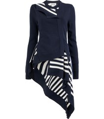 monse striped twisted flared cardigan - blue