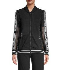 karl lagerfeld paris women's mesh logo bomber jacket - black - size m
