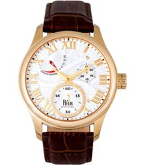reign bhutan automatic gold case, genuine brown leather watch 43mm