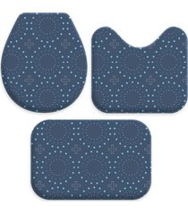 kit 3 tapetes decorativos para banheiro wevans abstrato azul