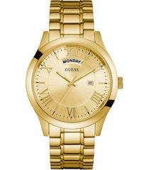 guess men's gold-tone stainless steel bracelet watch 44mm u0791g2