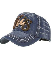 berretto da baseball da uomo con ricamo in denim, lettera modello cappellino da baseball regolabile con cappello da sole da cowboy