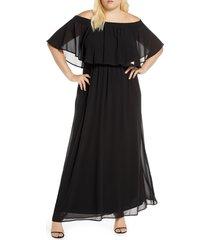 plus size women's show me your mumu hacienda off the shoulder ruffle evening dress, size 2x - black