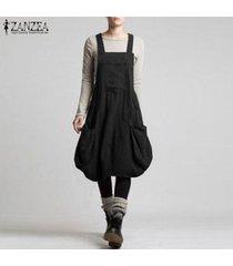 zanzea vestido de camisa larga con tirantes para mujer vestido de faldas con tirantes vestido sin mangas plus (no incluye la camisa y la mochila) -negro