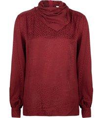 blouse met col en luipaardpatroon shay  bordeaux