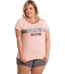 pijama short doll plus size manga curta feminino luna cuore premium