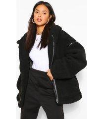 faux fur teddy jas met ceintuur en nepleren afwerking, zwart
