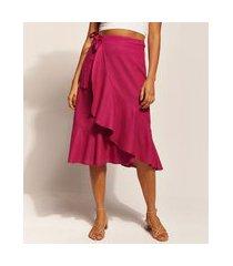 saia feminina emi beachwear midi transpassada com babado pink