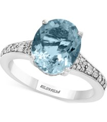 gemstone bridal by effy aquamarine (3-1/10 ct. t.w.) & diamond (1/4 ct. t.w.) ring in 18k white gold