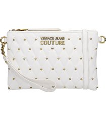 versace jeans couture clutch in white leather