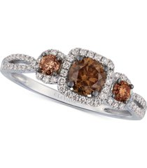 le vian chocolate diamond & vanilla diamonds statement ring (7/8 ct. t.w.) in 14k white gold