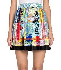 baroque silk pleat mini skirt