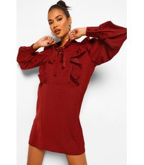 loshangende dogtooth jurk met franjes en strik, red