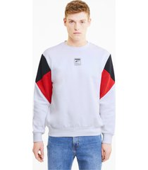 rebel small logo sweater met ronde hals voor heren, wit/aucun, maat s | puma