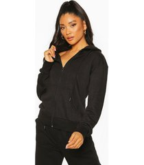 basic soft mix & match zip through hoodie, black
