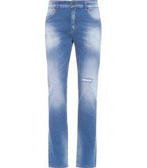 calça masculina jeans rasgos premium - azul