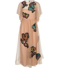 red valentino butterfly patches point desprit dress
