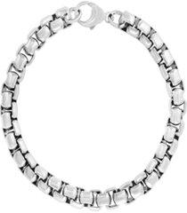 effy men's box link chain bracelet in sterling silver