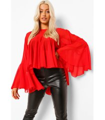 chiffon blouse met ruches, red
