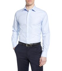 men's big & tall david donahue luxury non-iron trim fit dress shirt, size 16.5 - 36/37 - blue